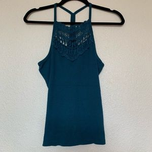 Crochet detailed turquoise tank top